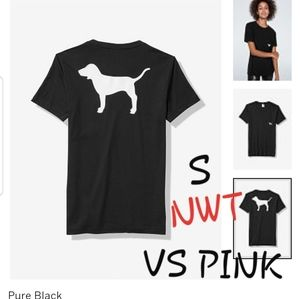 S NWT VS PINK BLK/WHT DOG CAMPUS POCKET CREW TEE